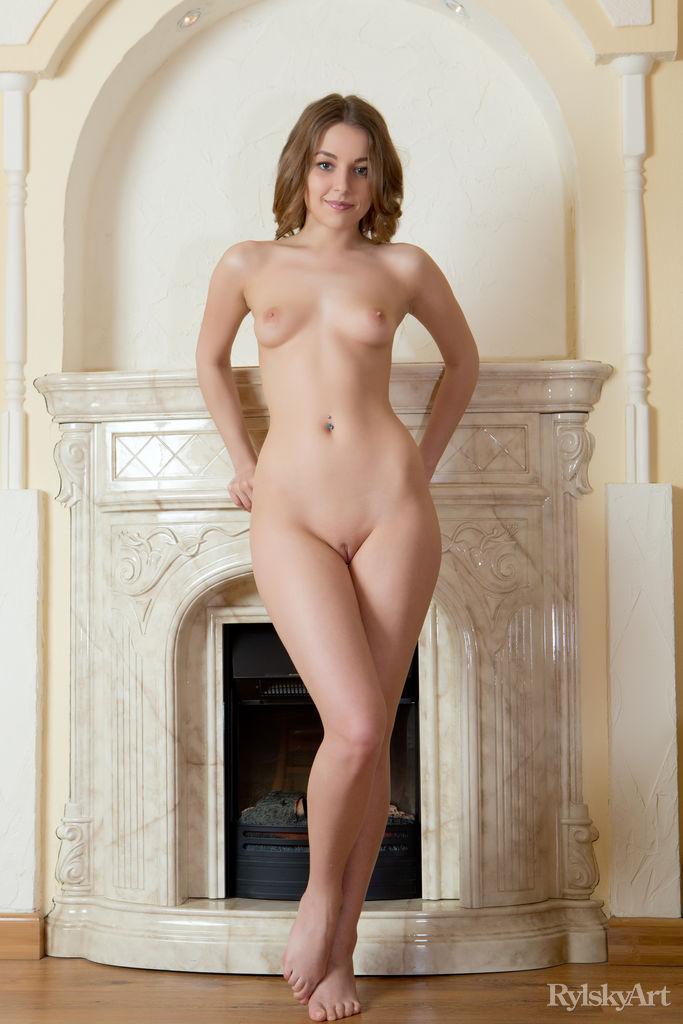 By fireplace sex brunette