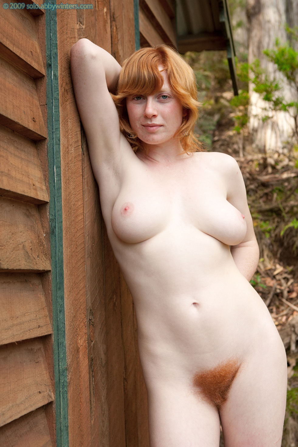 Natural redhead hairy standing in the nude really. And
