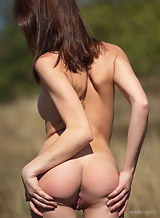Shaved brunette spreads her ass in a field