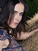 Sexy black-haired babe nude in a barn