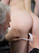 Horny blonde fucked by an old guy in the garage