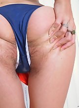 Blonde spreads her hairy holes