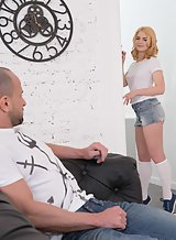 Cute blonde in jean short getting fucked