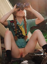 Petite redhead girl scout nude by her tent