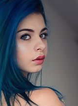 Flat-chested teen with blue hair and puffy nipples