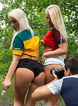 Blonde babes interrupt their soccer game for lesbian lust
