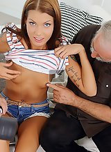 Tanned brunette getting fucked by 2 old guys