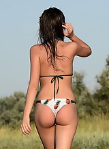 Shaved brunette takes off her bikini at the beach