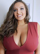 Chubby brunette shows off her big tits