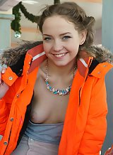 Blue-eyed blonde teen Faina Bona flashing