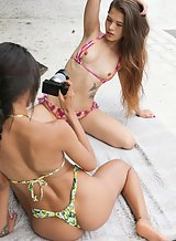 Sexy Latina teens taking pics outdoors