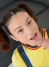 Cute brunette teen with pigtails sucking and fucking