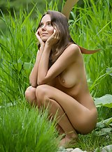 Sexy babe Katya Clover nude by a forest