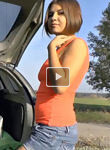 Hsiry girl masturbating in the boot of her car