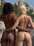 Interracial lesbians nude together