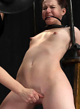 Tinytits redhead tied-up and toyed