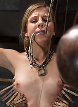 Horny blonde tied-up and man-handled