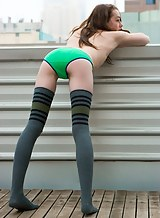 Athletic hairy amateur in thigh-high socks