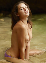Sexy brunette nude in the sea