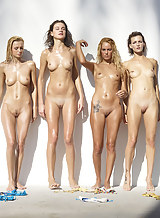 4 girls nude together