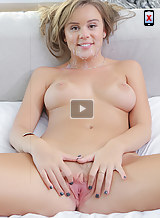 Busty girl with tan lines fucked and covered in cum