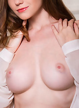 Stunning busty brunette with pale skin