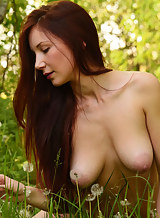 Busty girl with huge areolas nude in a field