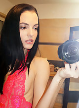 Black-haired hottie Sapphira taking selfshots