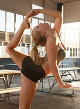 Flexible blondes teasing and flashing in public