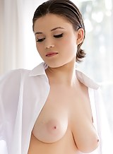 Short-haired busty brunette fucked in the ass