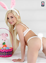 Petite blonde easter bunny fucked and covered in cum