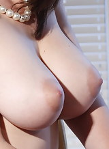 Brunette with big tits and areolas