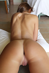 Brunette with tan lines spreads her ass and pussy