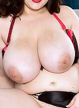 Chubby brunette with huge tits masturbating