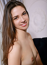 Long-haired brunette with small tits posing nude