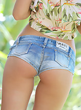 Cute blonde teen in sexy jean shorts