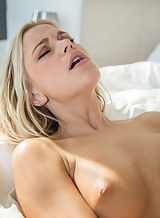 Blonde babe Dido Angel toying her shaved pussy