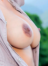 Sexy Latina with huge tits masturbating outdoors