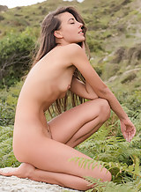 Flat-chested brunette nude outdoors