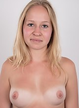 Shy blonde amateur with tan lines shows off her firm tits
