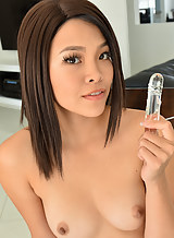 Busty Asian girl toying
