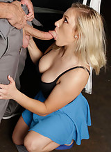 Blonde cutie fucks the mechanic in the car repair shop