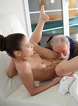Petite brunette getting fucked by an old guy