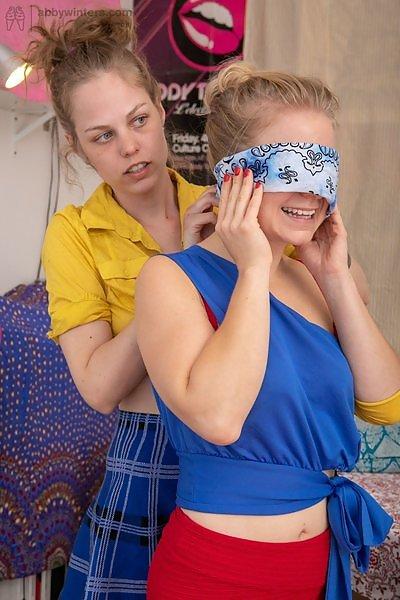 Caisa and Rose K blindfolded lesbian