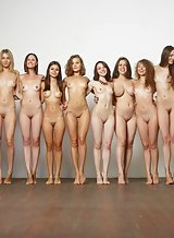 Naked Girls Standing In Line